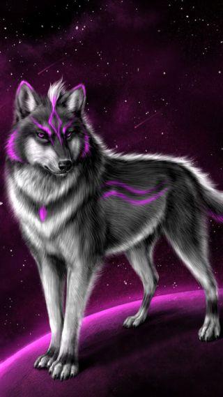 Обои на телефон фантазия, розовые, звезды, животные, волк
