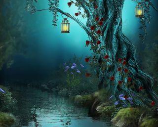Обои на телефон река, цветы, фантазия, темные, путь, огни, ночь, лес, картина, дерево, fantasy forest