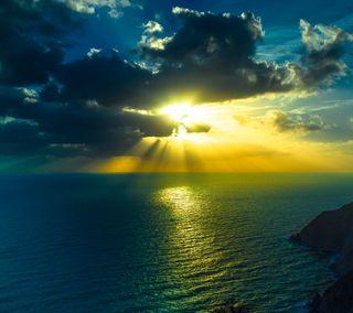 Обои на телефон сумерки, солнце, природа, океан, облака, небо, море, закат, живописные, вода, вид, вечер