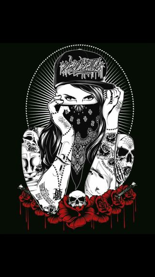 Обои на телефон банда, череп, тату, розы, мотоциклы, кровь, бок, байкер, арт, west side, art