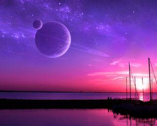 Обои на телефон планеты, фиолетовые, озеро, ночь, небо, галактика, skyscapes, outerspace, galaxy
