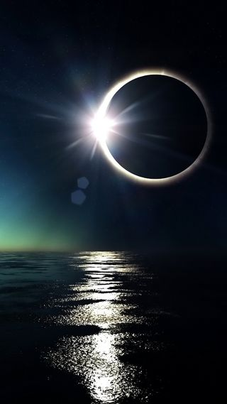 Обои на телефон солнце, море, луна, затмение