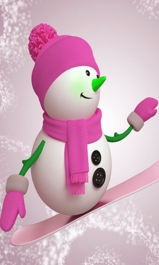 Обои на телефон каникулы, счастливые, снеговик, снег, розовые, рождество