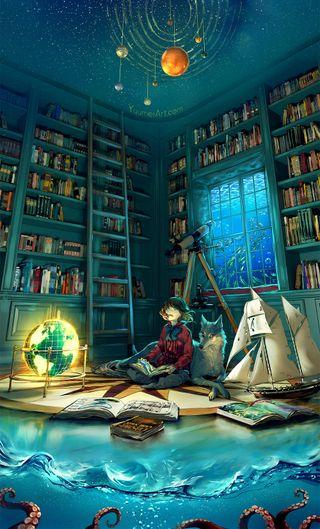 Обои на телефон мечта, космос, комната, книги, звезды, девушки, волк, вода, аниме, dreamworld