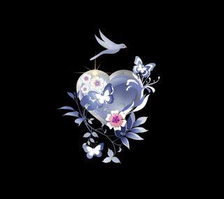 Обои на телефон синие, сердце, дизайн, бабочки, butterfly 009