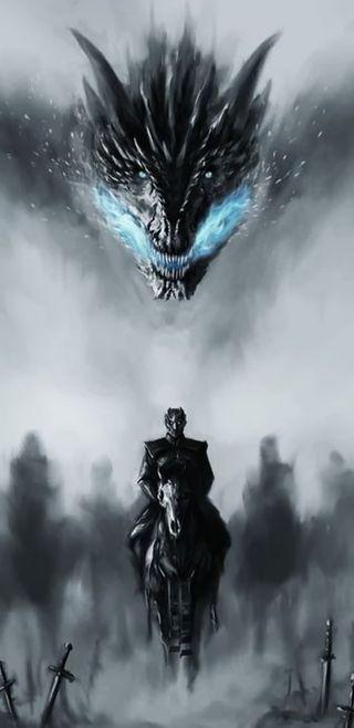 Обои на телефон престолы, темные, лошади, игра, дракон, note 8, dragon