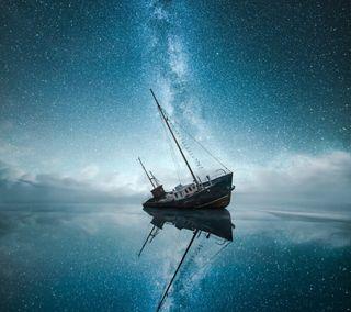 Обои на телефон корабли, звезды, milkway