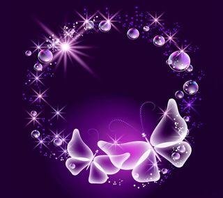 Обои на телефон пузыри, фиолетовые, сверкающие, неоновые, бабочки, neon butterflies