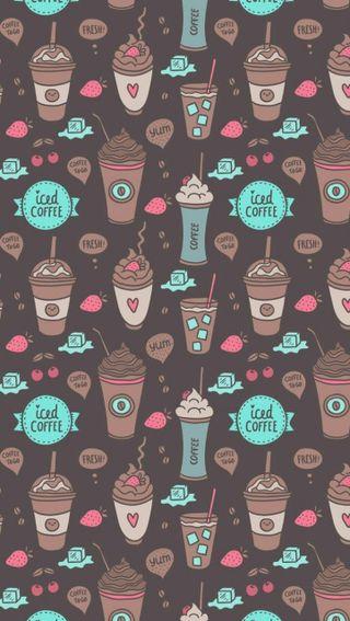 Обои на телефон вишня, лед, кофе, iced coffee
