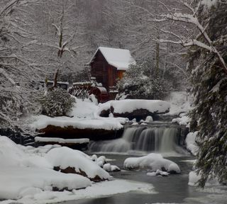 Обои на телефон страна, снег, мост, зима, barn
