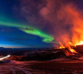 Обои на телефон северный, север, аврора, свет, огонь, лава, вулкан, northern fire, eruption