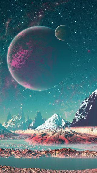 Обои на телефон небо, луна, космос, горы
