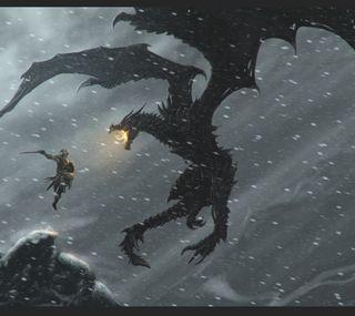 Обои на телефон скайрим, рпг, пс3, бой, мир, игры, дракон, throat of the world, skyrim dragon fight, dragon, alduin, 360