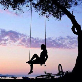 Обои на телефон силуэт, одинокий, небо, милые, дзен, дерево, девушки, байк, swing, sweet escape, escape