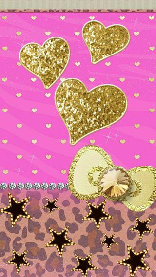 Обои на телефон лук, сердце, сверкающие, розовые, золотые, блестящие