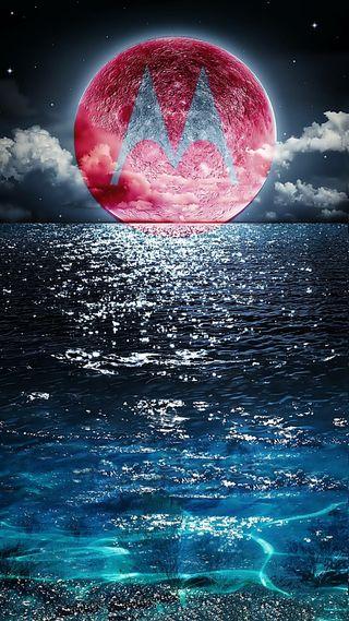 Обои на телефон моторола, море, луна, motorola