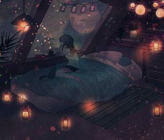 Обои на телефон чилл, анимация, прекрасные, ночь, грустные, аниме, gaze, bedroom