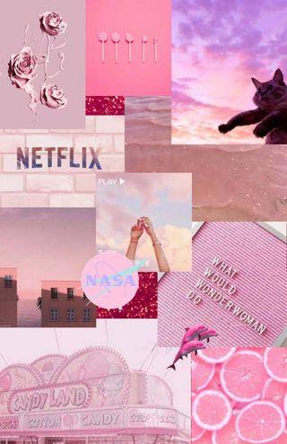 Обои на телефон коллаж, яркие, эстетические, розовые, милые, кошки