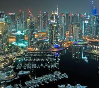 Обои на телефон оаэ, небоскребы, лодка, дубай, городской пейзаж, dubai marina