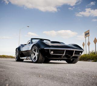 Обои на телефон шевроле, черные, модели, корвет, chevrolet, black corvette model