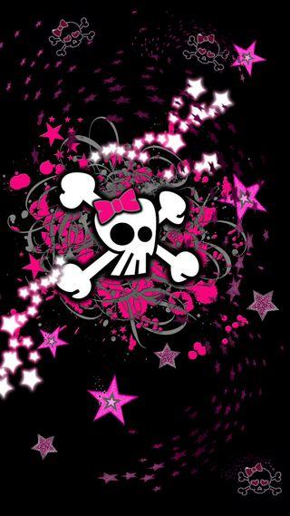 Обои на телефон панк, черные, череп, темные, розовые, звезды, девчачие, готические, girly stars n skulls