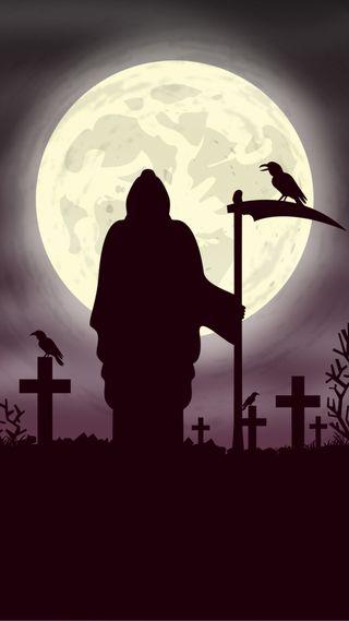 Обои на телефон мрачные, жнец, луна, grave yard, crows