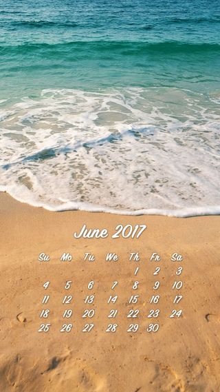 Обои на телефон календарь, june, 2017