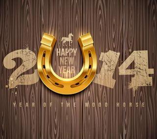 Обои на телефон год, счастливые, новый, лошадь, золотые, happy, 2014
