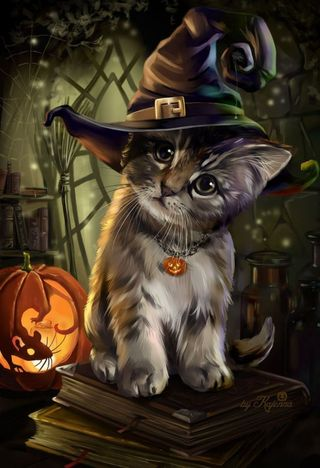 Обои на телефон коты, черные, хэллоуин, милые, кошки, котята, cute halloween kitty