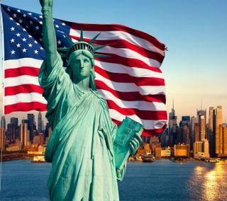 Обои на телефон флаг, сша, статуя, свобода, новый, йорк, город, usa, statue of liberty