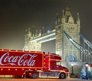 Обои на телефон огни, рождество, мост, лондон, кола, cocacola london