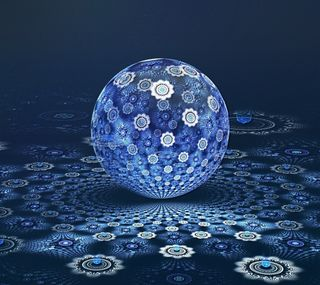 Обои на телефон фрактал, синие, мяч