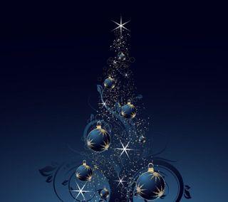 Обои на телефон светящиеся, синие, свет, рождество, мяч, дерево
