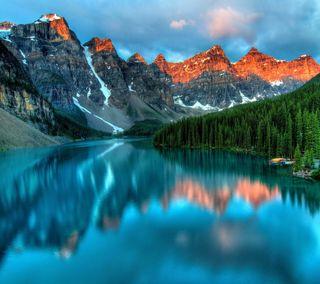 Обои на телефон восход, прекрасные, озеро, лес, горы, вода