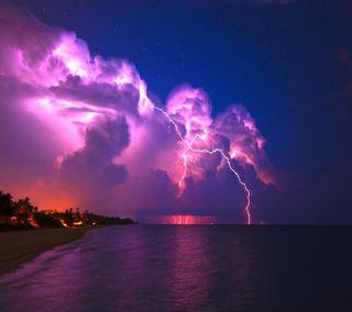 Обои на телефон шторм, фиолетовые, синие, природа, прекрасные, освещение, облака, красые