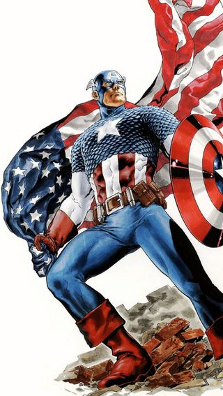 Обои на телефон флаг, капитан, аниме, америка