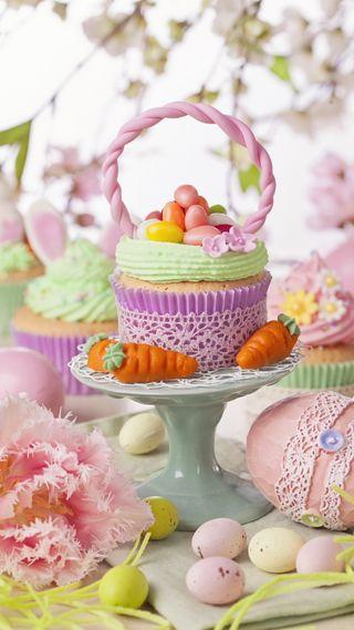 Обои на телефон яйца, празднование, цветы, цветные, пасхальные, кекс, время, easter time