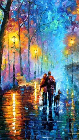 Обои на телефон прогулка, романтика, пара, любовь, картина, love