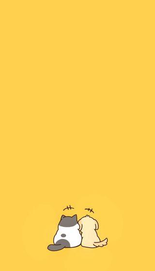 Обои на телефон дружба, собаки, оранжевые, мультяшные, мультфильмы, мультики, кошки, желтые, друзья, друг