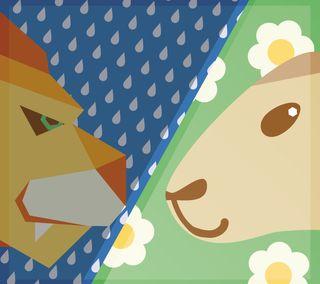 Обои на телефон ягненок, против, погода, овца, лев, дождь, весна, lion vs lamb