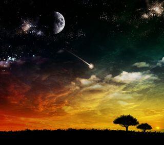 Обои на телефон луна, звезды, закат, дерево, асус, asus