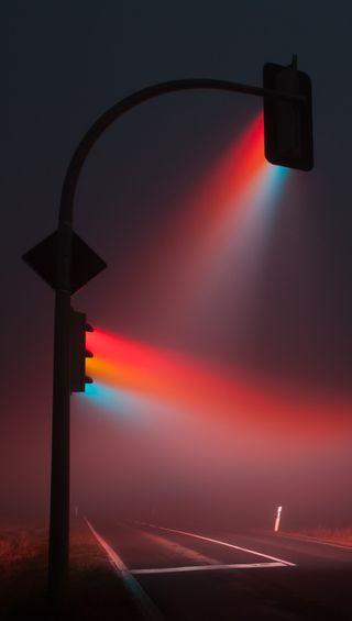 Обои на телефон туман, цветные, свет, крутые, дорога