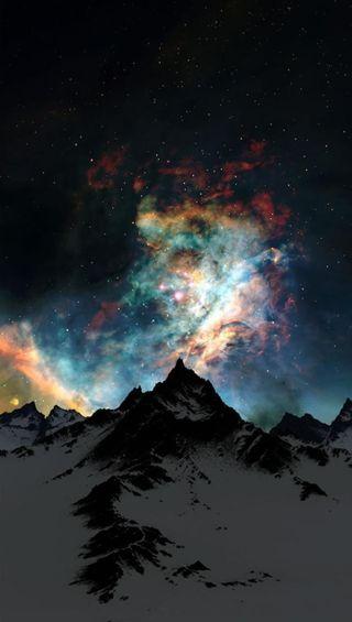 Обои на телефон сверкающие, цветные, свет, космос, горы