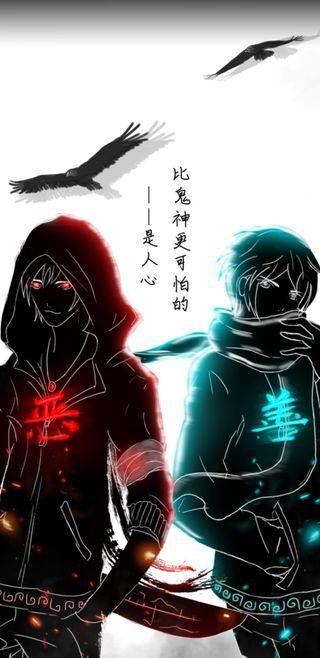 Обои на телефон синие, меч, мальчики, мальчик, красые, аниме, blue and red