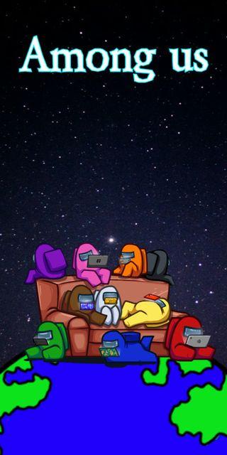 Обои на телефон мем, счастливые, рисунок, игра, земля, звезды, вселенная, амонг, us, invader, happy