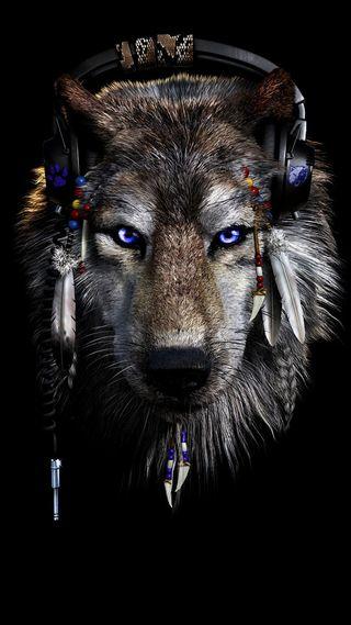 Обои на телефон техно, наушники, синие, диджей, волк, techno wolf, dj