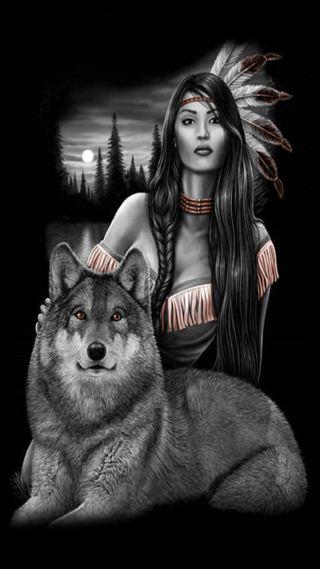 Обои на телефон родной, американские, волк, native american