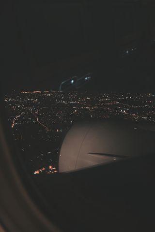Обои на телефон самолет, релакс, путешествие, отпуск, огни, ночь, летать, город, видеть, air