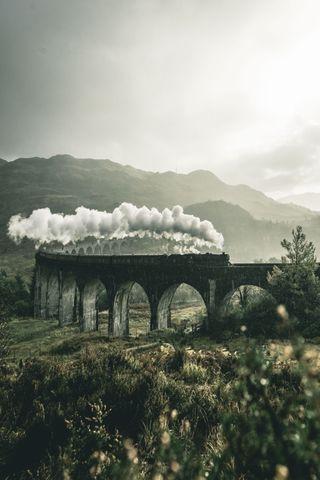 Обои на телефон шотландия, поттер, романтика, природа, прекрасные, поезда, осень, комиксы, деревья, гарри, munis, harry potter train