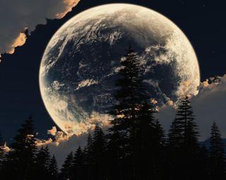 Обои на телефон тень, темные, силуэт, облака, ночь, луна, звезды